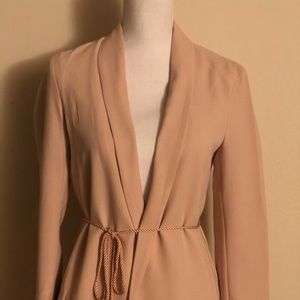 H&M Blush Pink Blazer with Tassel Waist Belt Tie